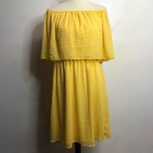 Just Fab yellow off shoulder dress